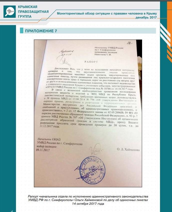 В полиции Крыма считают, что участники одиночных пикетов вызывают «недовольство славянского населения» (документ)
