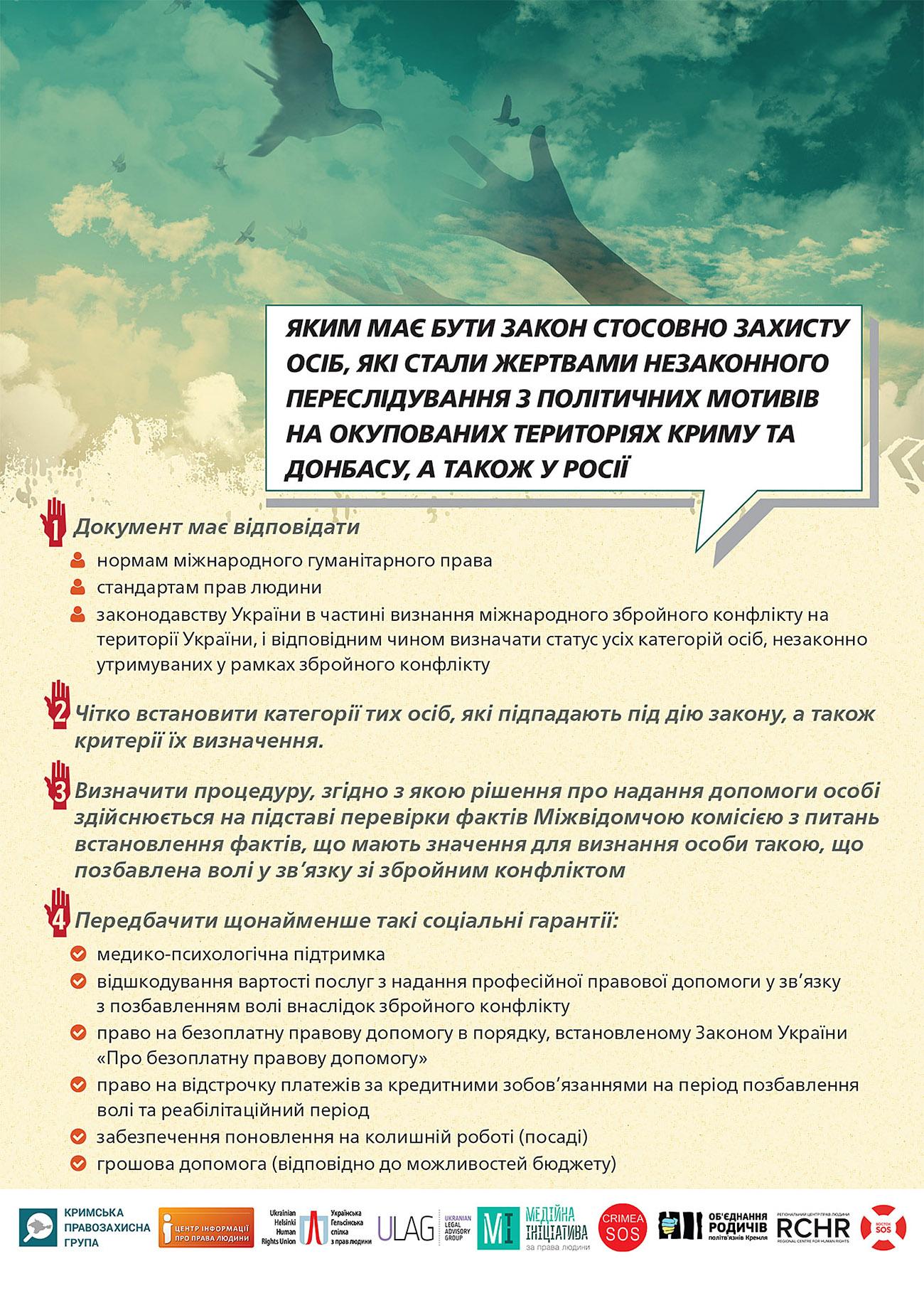 Заручники ОРДЛО та «в'язні Кремля»  – досі «невидимі»  для держави. Вимагаємо ухвалення якісного закону! (інфографіка)