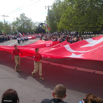 «Children Parade» in Sevastopol with Military Equipment and Soviet Symbols