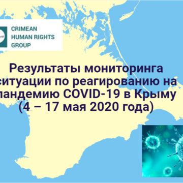 Результаты мониторинга ситуации по реагированию на пандемию COVID-19 в Крыму  (4 – 17 мая 2020 года)