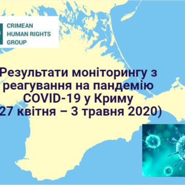Результати моніторингу з реагування на пандемію COVID-19 у Криму  (27 квітня – 3 травня 2020 року)