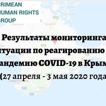 Результаты мониторинга ситуации по реагированию на пандемию COVID-19 в Крыму (27 апреля — 3 мая 2020 года)